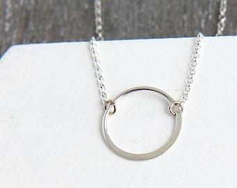 Karma Necklace, Sterling Silver Karma Necklace, Ring Necklace, Silver Eternity Necklace, Silver Infinity Necklace, Bridesmaid Necklace