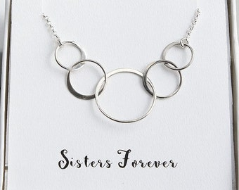 Five Sisters Necklace, Sisters Necklace, Gift for Sister, Sterling Silver 5 Rings Necklace, Sister Necklace, 50th Birthday Gift Necklace