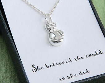 Boxing Glove Necklace, Fitness Necklace, Boxing Gift, Sports Necklace, She believed she could so she did, Inspirational Jewelry,Gift for Her
