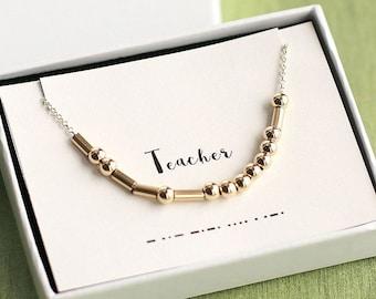 Teacher Gift, Teacher Morse Code Necklace, Teacher Necklace, Morse Code Necklace, Morse Code Jewelry, Teacher Jewelry, Custom Morse Necklace