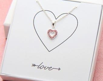 Heart Necklace, Sterling Silver Heart Necklace, Pink Heart Necklace, Small Heart Necklace, Heart Jewelry, Love Necklace, Gift for Girlfriend