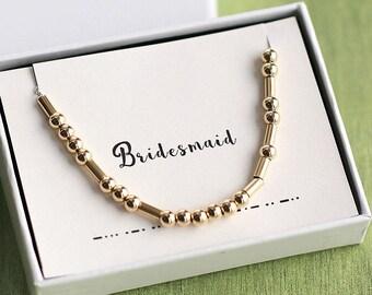 Bridesmaid Morse Code Necklace, Bridesmaid Necklace, Wedding Necklace, Morse Code Jewelry, Bridesmaid Jewelry, Bridesmaid Gift, Bridal Party