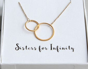 Sisters Necklace, Sister Necklace, Gift for Sister, 2 Sisters Necklace, Circle Necklace, Gold Ring Necklace, Eternity Necklace, Gift for Her
