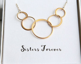 Five Sisters Necklace, 5 Sisters Necklace, Sister Necklace, Sisters Forever Necklace, 5 Ring Necklace, Five Gold Ring Necklace, Gift for Her