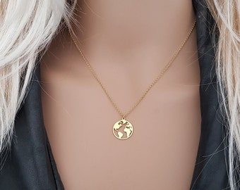 ce1181c73bc Globe necklace, Earth Necklace, Gold Globe Pendant, World Map Necklace,  World necklace, Wanderlust Necklace, Travel Necklace, Gift for Her