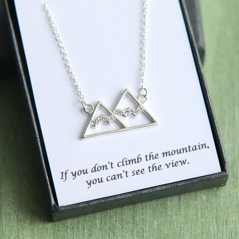 Mountain necklace mountain pendant Graduation gift Graduation necklace
