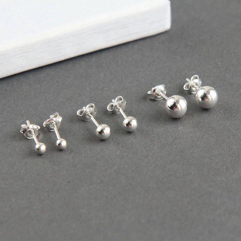 Silver Stud Earrings Minimalist Earrings Sterling Silver image 0