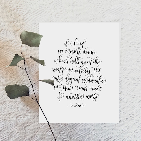 Made For Another World Cs Lewis Quote 85x11 Etsy