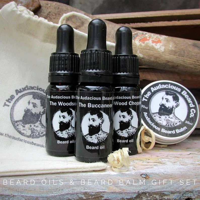 Beard Oils & Beard Balm Gift Set  The Audacious Beard Co image 0