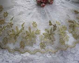 32 x 49 Lustrous Smoky Gold Organza Fabric Black Sequins Bronze Metallic Gold Metallic Sequined Organza Bridal Fabric Wedding #1 S115