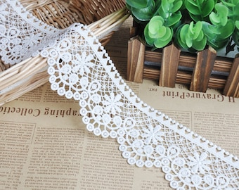 2 Yards Alice Exquisite Ivory Venice lace Trim Eyelash Big Flower Wedding Supplies 2.48 Inches Wide