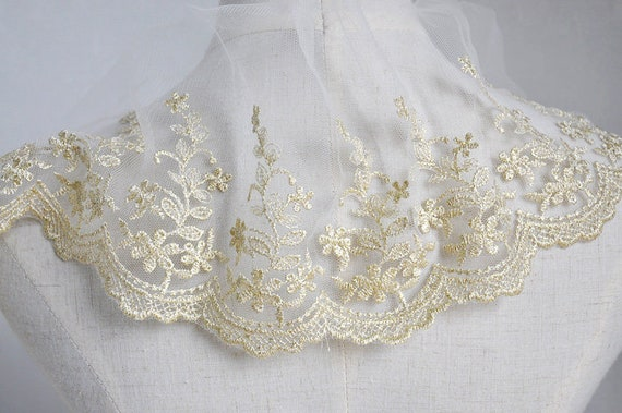 2 Yards Ivory Tulle Black Tulle Gold Flower Lace Trim Soft  Floral Embroidered Wedding Lace Bridal Lace 10 Wide High Quality