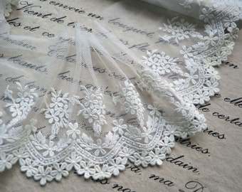 "White Cotton Lace Trim Embroidery Flower Bridal Wedding Fabric Headband Fabric 5.11"" width 2 yards"