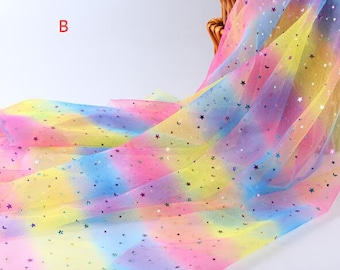 """Gradient Rainbow Tulle Sequin Star Moon Lace Fabric Exquisite Bridal Lace Wedding Lace Headband Lace 59"""" width 1 yard"""