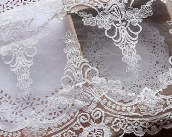 """White Floral Lace Trim Venice Embroidered Tulle Lace Trim 9.05"""" Wide 2 Yards"""