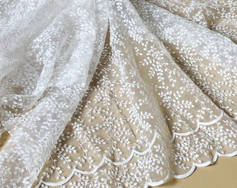 """White Organza Floral  Lace Fabric Flower Embroidery Fabric Exquisite Bridal Wedding Fabric Headband 51"""" width 1 yard"""