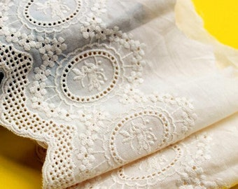 """Cotton lace trim eyelet lace beige lace vintage flower embroidery,for bride boho dress, lace curtain, skirt hem or girl dress 5.1"""" width"""