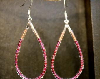 Coral and Wine Teardrop Beaded Earrings