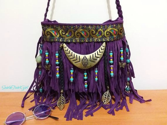 0781f905096 Purple bohemian turquoise bag boho fringed crossbody bag   Etsy