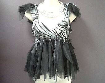 SALE 50% OFF, womans festival top, black grey top, bohemian fairy, goth tutu top, black tulle top,  burning man clothing, small woman top