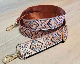 long adjustable crossbody strap for shoulder bags, Aztec braid detachable handle, long shoulder strap replacement for bags purse or guitar