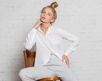 Pure White Linen Shirt