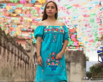 51ec17e6be Mexican off the shoulder mini dress hand embroidered - Aqua jade 100%  cotton (manta)