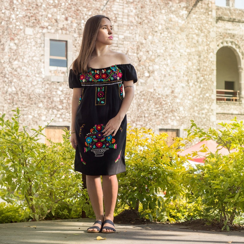 d406344236864 Mexican off the shoulder mini dress hand embroidered Black