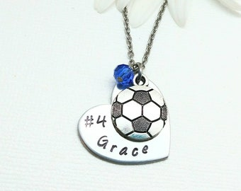 Soccer gifts Soccer jewelry. Soccer necklace Girls soccer necklace in sterling silver on 16 inch sterling silver cable chain and 2 extender
