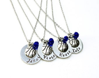PERSONALIZED BASKETBALL NECKLACE, Affordably Priced For A Team Gift, Makes A Great End Of Season Banquet Present