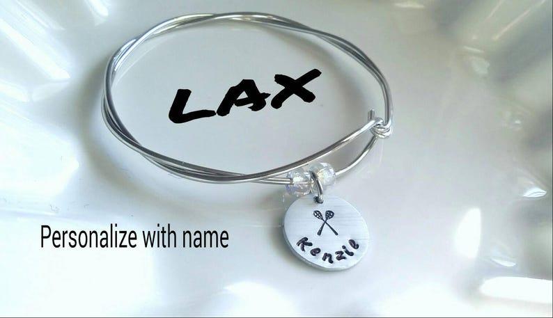 Silver Aluminum No Tarnish Lacrosse Bracelet Custom Lacrosse Lax