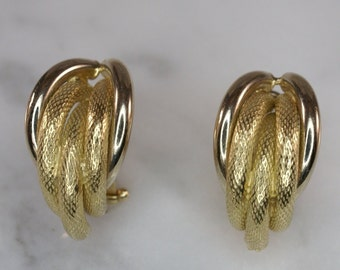 Faro 14K Yellow Gold Half Hoop Omega Clip Post Earrings 6d9757099cc