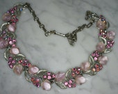 Lisner Silver Tone, Pink Rhinestone, and Pink Lucite Adjustable Length Necklace