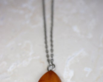Sterling Chain Necklace with Amber Pendant