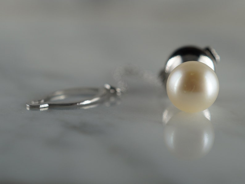 14K White Gold and Pearl Tie Tack