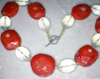 Dyed Red Coral and Faceted Opalite Bead Necklace