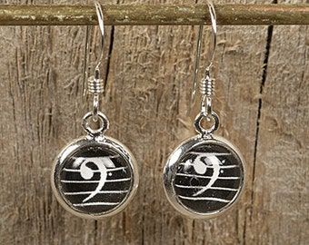 Bass Clef Dangly Drop Earrings for Cellist, Bassists, Trombonists, Tuba Players... Sterling Silver 8mm
