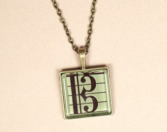 Alto Clef Large Pendant Necklace for Violists on 50cm Chain - Viola Player Gift