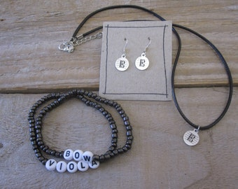 Viola Player Jewellery Set - Alto Clef Necklace and Earrings, Viola Joke Bracelets - Violist Gift