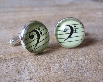 Bass Clef Cufflinks - gift for Cellists, Bass Players, Tuba Players...