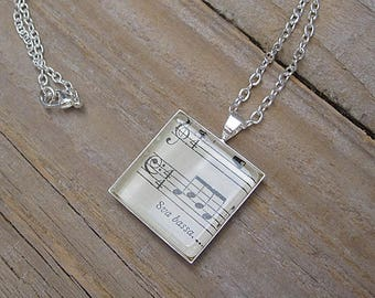 Bassist Necklace - Gift for Bass Player - 8va Bassa Pendant Necklace - Vintage Music Book