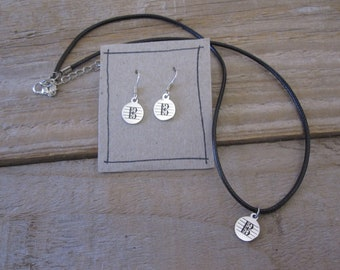 Viola Player Jewelry Set - Alto Clef Necklace and Earrings in Stainless Steel - Gift for Violists