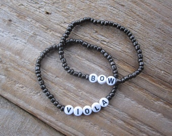 Viola Joke Bracelets: Viola & Bow - Gift for Violists, Funny Viola Player Gift