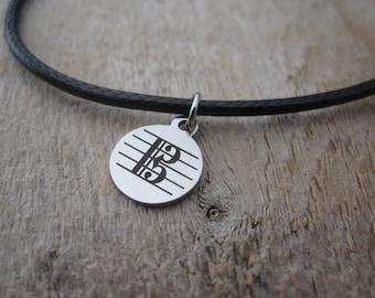 Alto Clef Mini Pendant Necklace for Violists in Stainless Steel on Waxed Cotton Thong