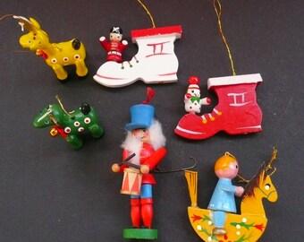 6 Wooden Ornaments