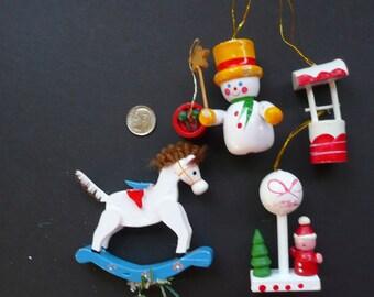 4 Wooden Ornaments