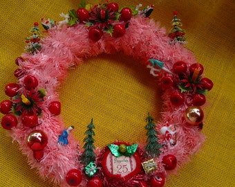 Pink Cherry Wreath