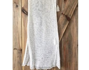 Long Summer Skirt, White Skirt, Romantic Skirt, Knit Skirt, Boho Skirt, Handknitted Skirt, Openwork Skirt,