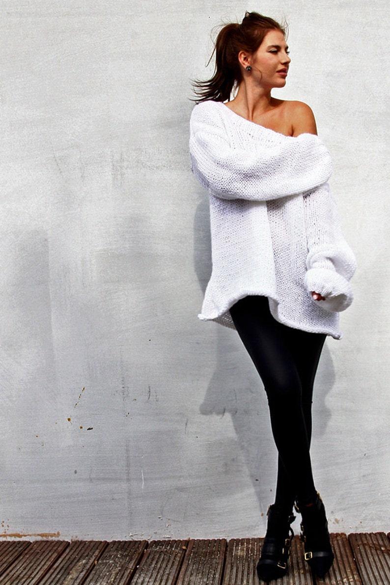 Oversized White Sweater Big Chunky Sweater Loose Sweater  fc17c836f