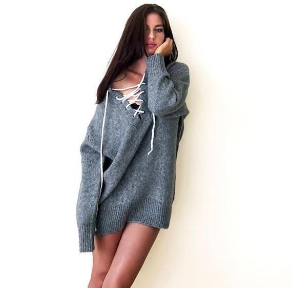 fe0611e90e Oversized Grey Sweater Big Sweater Slouchy Sweater Loose